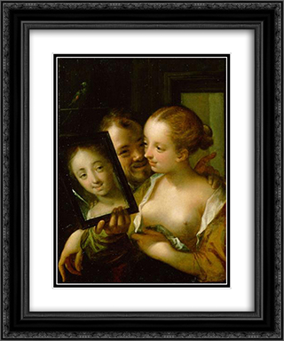 Couple with a mirror 20x24 Black or Gold Ornate Framed and Double Matted Art Print by Hans von Aachen
