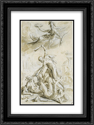Hercules defeating the vices 18x24 Black or Gold Ornate Framed and Double Matted Art Print by Hans von Aachen