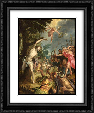 Martyrdom of Saint Sebastian 20x24 Black or Gold Ornate Framed and Double Matted Art Print by Hans von Aachen