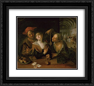 Matchmaking scene 22x20 Black or Gold Ornate Framed and Double Matted Art Print by Hans von Aachen