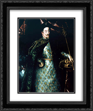 Matthias, Holy Roman Emperor, as King of Bohemia 20x24 Black or Gold Ornate Framed and Double Matted Art Print by Hans von Aachen