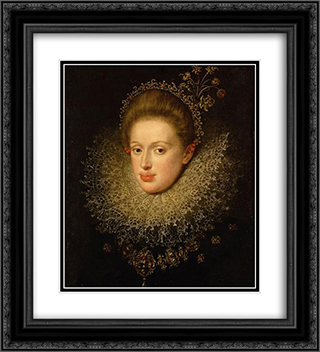 Portrait of Anna of Austria (1585-1618) 20x22 Black or Gold Ornate Framed and Double Matted Art Print by Hans von Aachen
