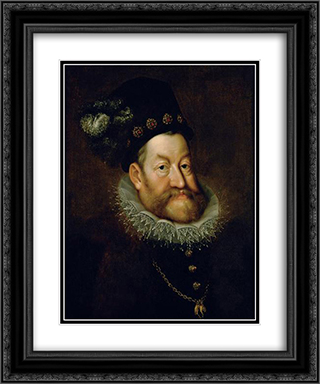 Portrait of Rudolf II, Holy Roman Emperor 20x24 Black or Gold Ornate Framed and Double Matted Art Print by Hans von Aachen