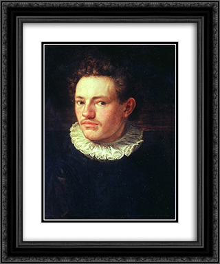 Self-portrait 20x24 Black or Gold Ornate Framed and Double Matted Art Print by Hans von Aachen