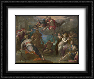 The Amazement of the Gods 24x20 Black or Gold Ornate Framed and Double Matted Art Print by Hans von Aachen