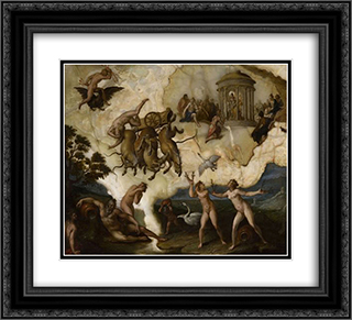 The fall of Phaeton 22x20 Black or Gold Ornate Framed and Double Matted Art Print by Hans von Aachen