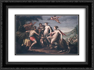 The judgment of Paris 24x18 Black or Gold Ornate Framed and Double Matted Art Print by Hans von Aachen