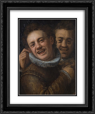 Two laughing men (double self-portrait) 20x24 Black or Gold Ornate Framed and Double Matted Art Print by Hans von Aachen