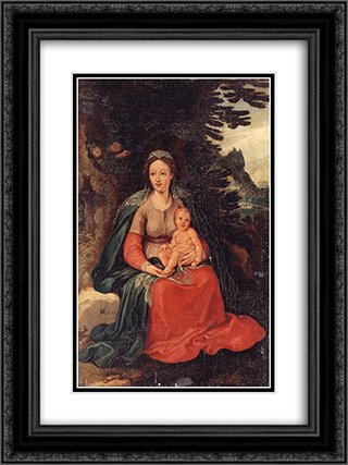 Virgin and Child 18x24 Black or Gold Ornate Framed and Double Matted Art Print by Hans von Aachen