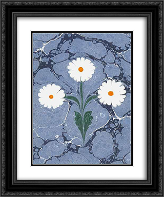Ebru (attributed) 20x24 Black or Gold Ornate Framed and Double Matted Art Print by Hatip Mehmed Efendi
