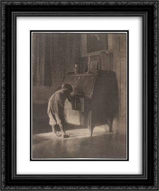 Hans with Bureau 20x24 Black or Gold Ornate Framed and Double Matted Art Print by Heinrich Kuhn