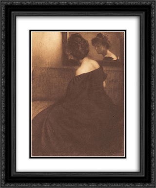Lady before a mirror 20x24 Black or Gold Ornate Framed and Double Matted Art Print by Heinrich Kuhn