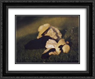 Miss Mary and Edeltrude Lying in the Grass 24x20 Black or Gold Ornate Framed and Double Matted Art Print by Heinrich Kuhn