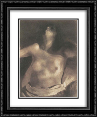 Nude on Back 20x24 Black or Gold Ornate Framed and Double Matted Art Print by Heinrich Kuhn