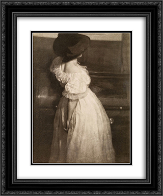 Study in Tonal Values III (Mary Warner) 20x24 Black or Gold Ornate Framed and Double Matted Art Print by Heinrich Kuhn