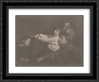 The Kuhn Children, Tyrol 24x20 Black or Gold Ornate Framed and Double Matted Art Print by Heinrich Kuhn