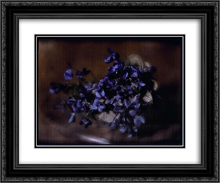 Violets 24x20 Black or Gold Ornate Framed and Double Matted Art Print by Heinrich Kuhn