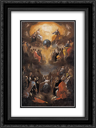 Adoration of the Holy Trinity 18x24 Black or Gold Ornate Framed and Double Matted Art Print by Heinrich Schonfeld