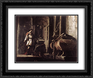 Alexander the Great before the Tomb of Achilles 24x20 Black or Gold Ornate Framed and Double Matted Art Print by Heinrich Schonfeld