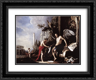 Allegory of Time 24x20 Black or Gold Ornate Framed and Double Matted Art Print by Heinrich Schonfeld