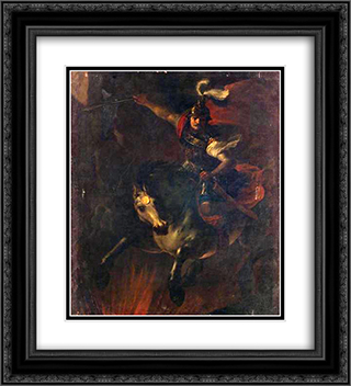 Opfertod des Marcus Curtius 20x22 Black or Gold Ornate Framed and Double Matted Art Print by Heinrich Schonfeld