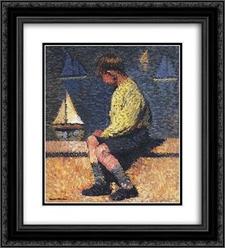 A Boy with Sailboats 20x22 Black or Gold Ornate Framed and Double Matted Art Print by Henri Martin