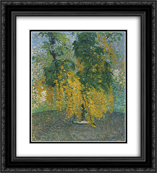 A branch of Citisedans Vase 20x22 Black or Gold Ornate Framed and Double Matted Art Print by Henri Martin
