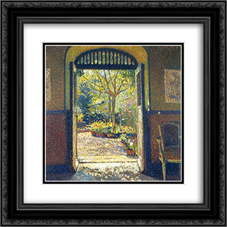A Garden in the Sunshine 20x20 Black or Gold Ornate Framed and Double Matted Art Print by Henri Martin