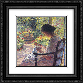 A Woman Sewing 20x20 Black or Gold Ornate Framed and Double Matted Art Print by Henri Martin