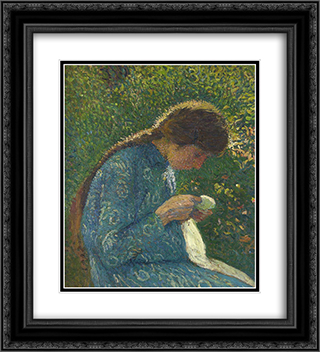 A Young Woman Sewing 20x22 Black or Gold Ornate Framed and Double Matted Art Print by Henri Martin
