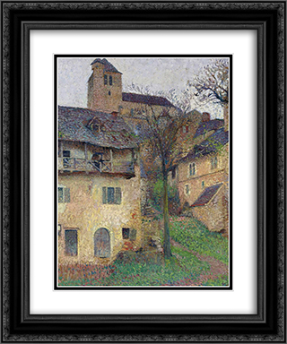 Amount Verg The Church of Saint Cirq Lapopie 20x24 Black or Gold Ornate Framed and Double Matted Art Print by Henri Martin