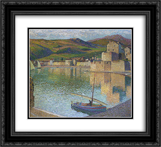 Blue Boat in Port Collioure 22x20 Black or Gold Ornate Framed and Double Matted Art Print by Henri Martin