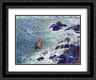 Boat near Cliffs 24x20 Black or Gold Ornate Framed and Double Matted Art Print by Henri Martin