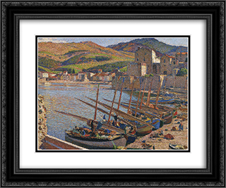 Boats at Collioure 24x20 Black or Gold Ornate Framed and Double Matted Art Print by Henri Martin
