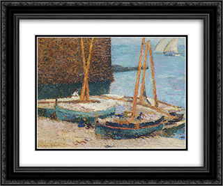 Boats in the Port of Collioure 24x20 Black or Gold Ornate Framed and Double Matted Art Print by Henri Martin