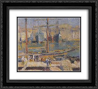Boats in the Port of Marseille 22x20 Black or Gold Ornate Framed and Double Matted Art Print by Henri Martin