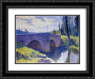Bridge of Saint Medard at Midday 24x20 Black or Gold Ornate Framed and Double Matted Art Print by Henri Martin