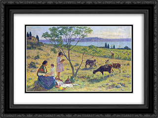 Bucolic 24x18 Black or Gold Ornate Framed and Double Matted Art Print by Henri Martin