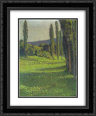 By the Fields 20x24 Black or Gold Ornate Framed and Double Matted Art Print by Henri Martin