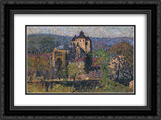Cathedral of Cahors 24x18 Black or Gold Ornate Framed and Double Matted Art Print by Henri Martin