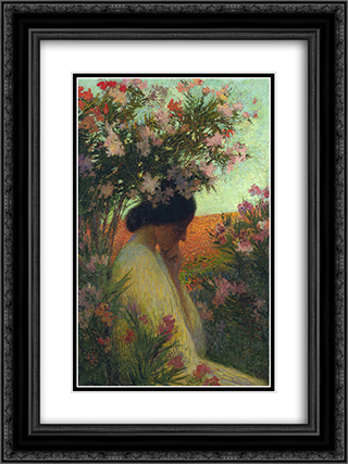 Chapelle Rose 18x24 Black or Gold Ornate Framed and Double Matted Art Print by Henri Martin
