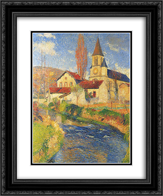Church by the River 20x24 Black or Gold Ornate Framed and Double Matted Art Print by Henri Martin