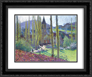 Church in Labastide du Vert 24x20 Black or Gold Ornate Framed and Double Matted Art Print by Henri Martin