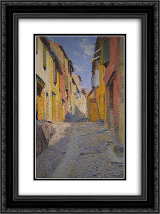 Collioure street 18x24 Black or Gold Ornate Framed and Double Matted Art Print by Henri Martin