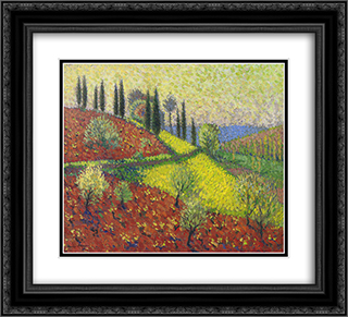 Cyprus Trees on the Hill 22x20 Black or Gold Ornate Framed and Double Matted Art Print by Henri Martin