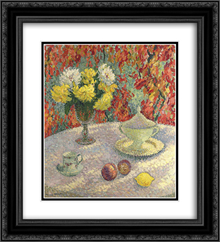 Dahlias in the Sun 20x22 Black or Gold Ornate Framed and Double Matted Art Print by Henri Martin