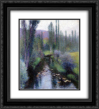 Ducks on the Vert 20x22 Black or Gold Ornate Framed and Double Matted Art Print by Henri Martin