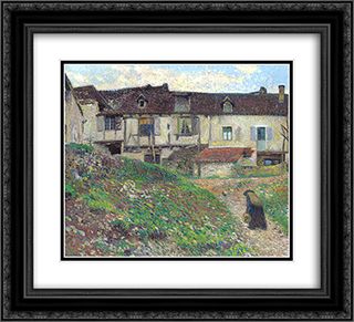 Entering the Village 22x20 Black or Gold Ornate Framed and Double Matted Art Print by Henri Martin