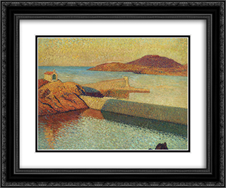 Entrance of port Collioure 24x20 Black or Gold Ornate Framed and Double Matted Art Print by Henri Martin