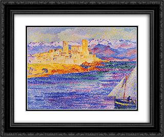 Antibes 24x20 Black or Gold Ornate Framed and Double Matted Art Print by Henri Edmond Cross